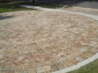 Roman Paver Circle with Handmade Brick Shapes